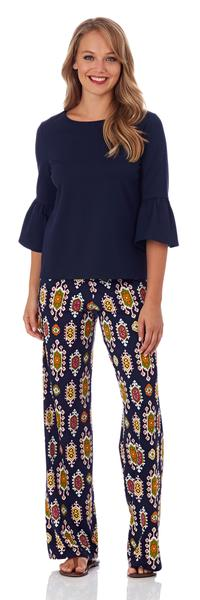 Jude Connally Trixie Wide Leg Pant in Medallion Navy