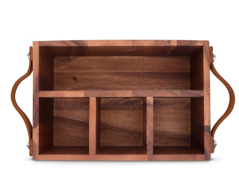 Vagabond House Equestrian Bit Wood & Leather Handles Flatware Caddy H264LB - Saratoga Saddlery & International Boutiques