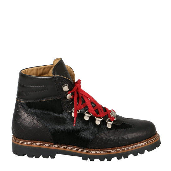 Ammann Valbella IV Boot in Black Croc Leather w/ Black Calf Hair