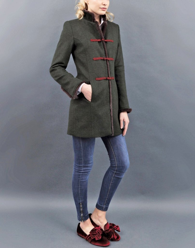 Von Dornberg Women's Indira Jacket Mink Trim in Dark Green - Saratoga Saddlery & International Boutiques