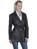 Scully Women's Belted Thigh Length Washed Lamb Coat Black