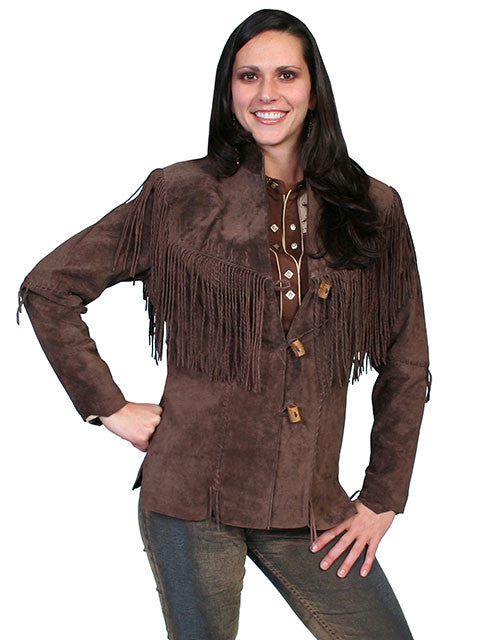 Scully Women's Cheyenne Toggle Boar Suede Jacket - Chocolate