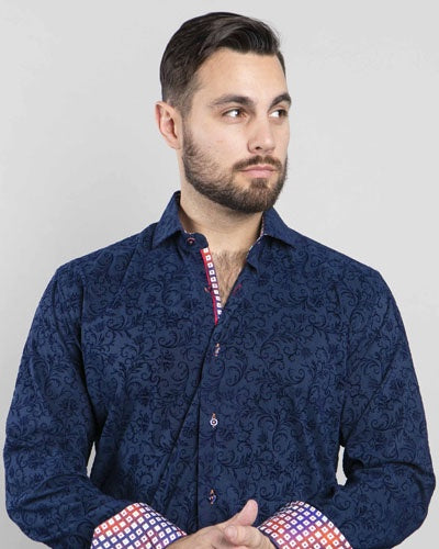 7 Downie Street Long Sleeve Mens Dress Shirt in Navy