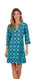 Jude Connally Womens Megan Dress in Diamond GEO Navy/Teal - Saratoga Saddlery & International Boutiques
