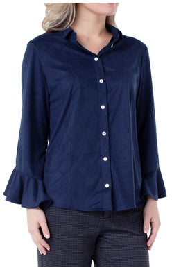 Liverpool Oxford Button Front Flounce Shirt - Saratoga Saddlery & International Boutiques