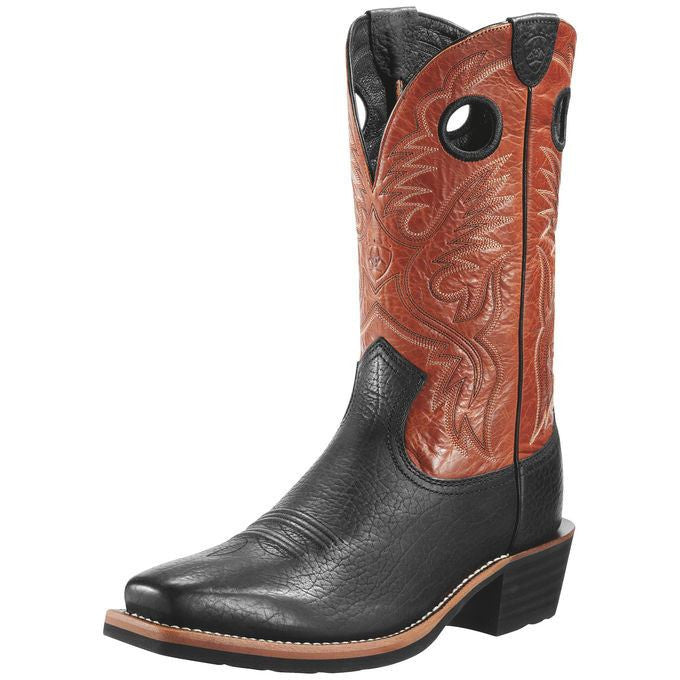 Ariat Men's Heritage Roughstock Buckboard Black/Burnt Clay - Saratoga Saddlery
