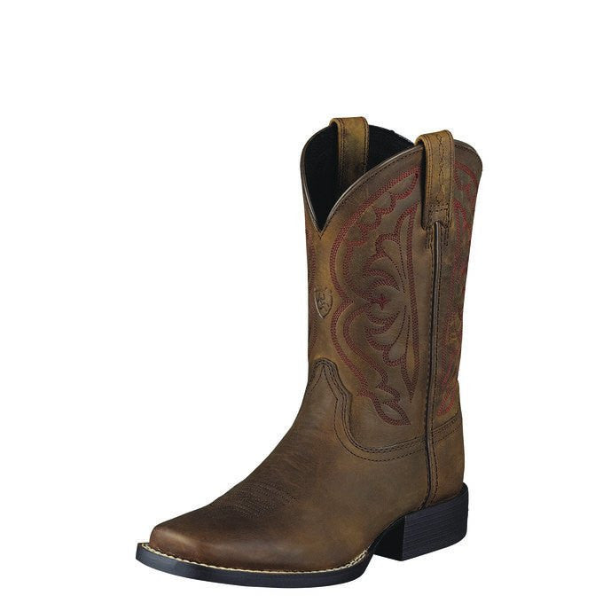 Ariat Youth Quickdraw Boot in Distressed Brown - Saratoga Saddlery & International Boutiques