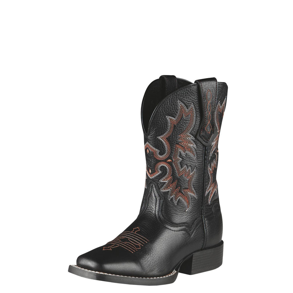 Ariat Youth Tombstone Boot in Black Deertan - Saratoga Saddlery