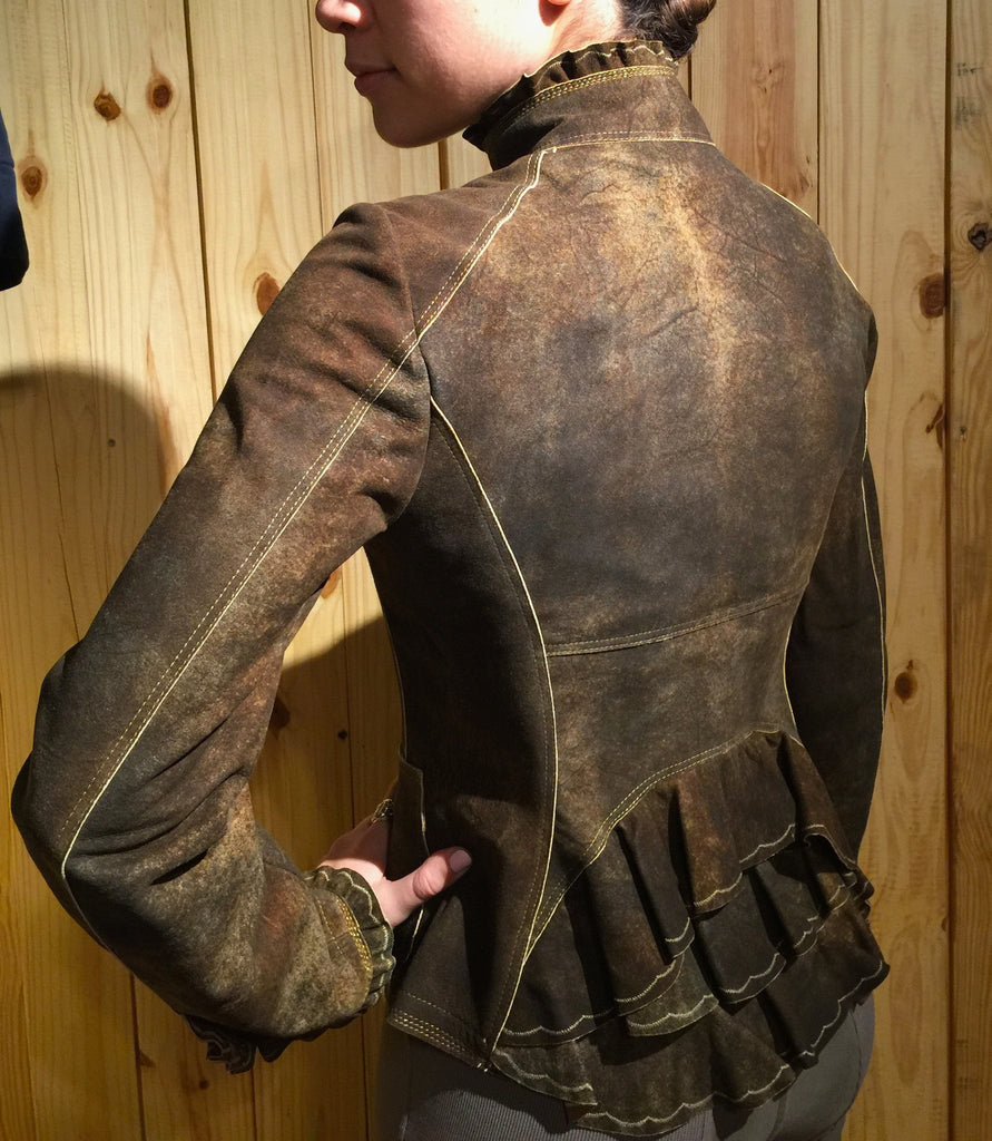Artico Gringolino Ruffle Leather Jacket Olive