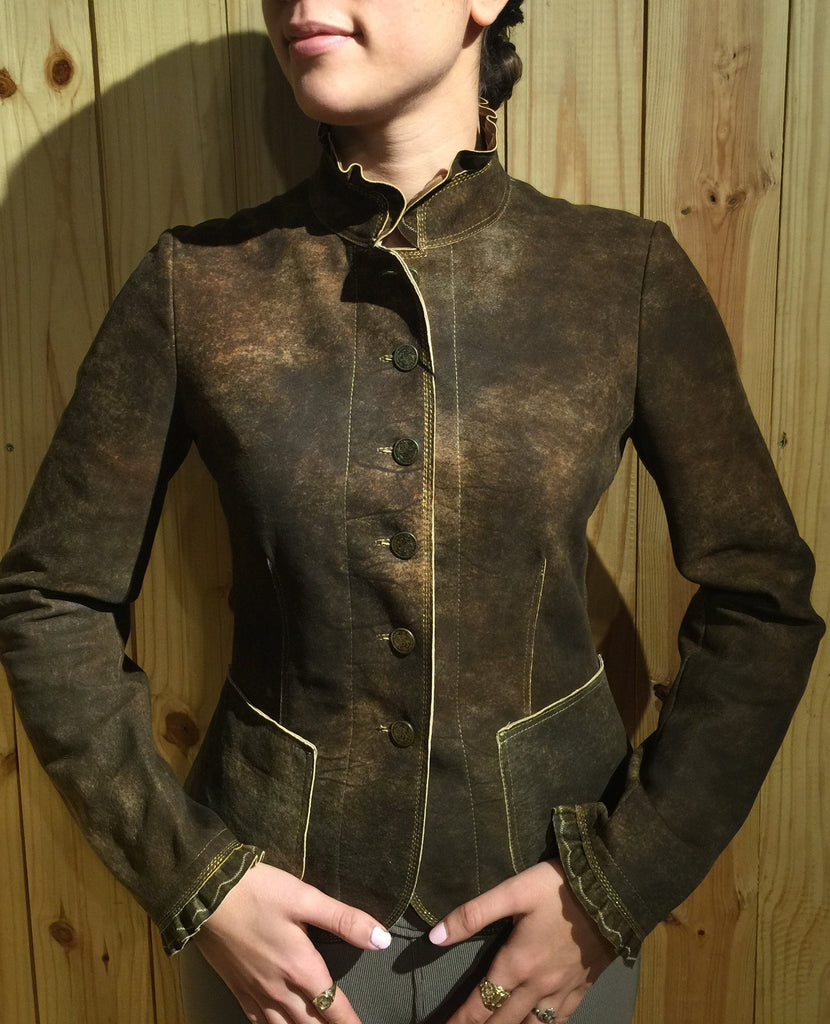 Artico Gringolino Ruffle Leather Jacket - Saratoga Saddlery & International Boutiques