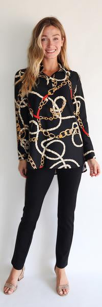 Jude Connally Hadley Top Ribbons and Chains in Black - Saratoga Saddlery & International Boutiques