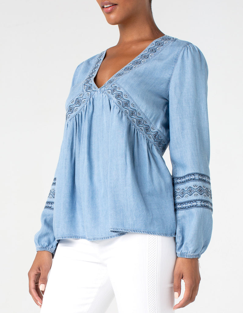 Liverpool Long Sleeve V-Neck Embroidered Peasant Top  LM8018Y47E67