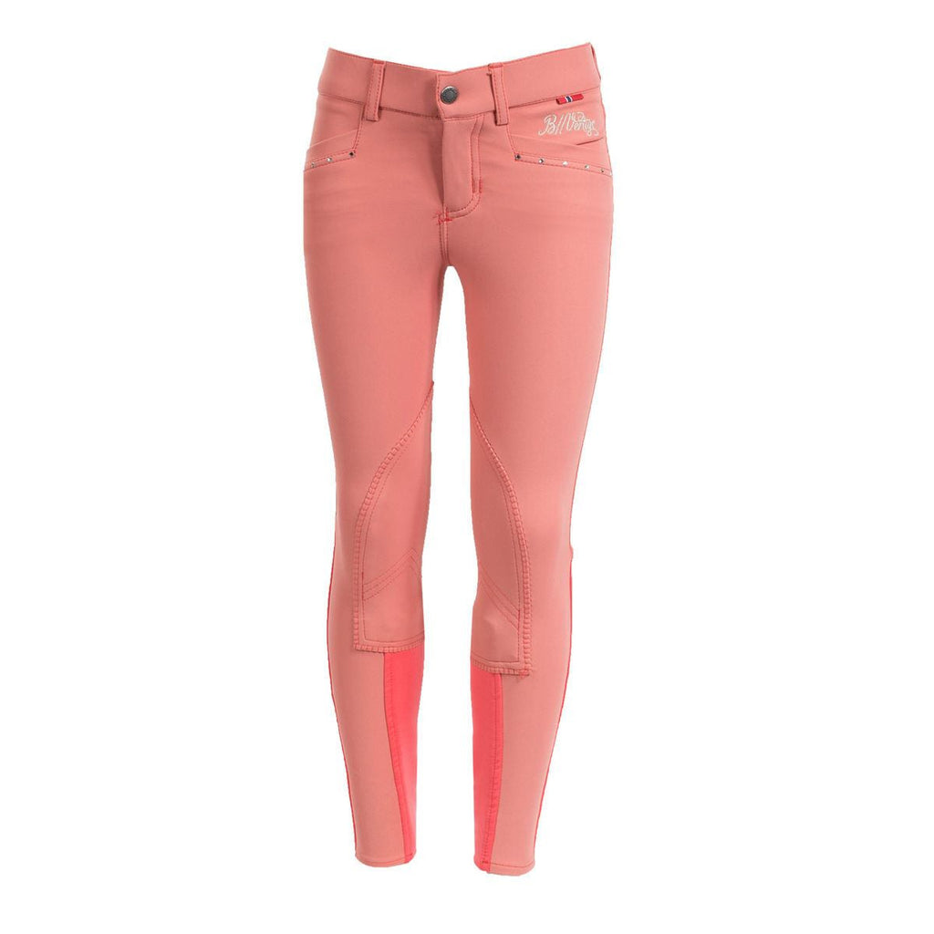 B Vertigo Oliva Fancy Girl's Breeches in Deep Coral Pink - Saratoga Saddlery