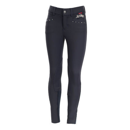 B Vertigo Oliva Fancy Girl's Breeches in Navy - Saratoga Saddlery