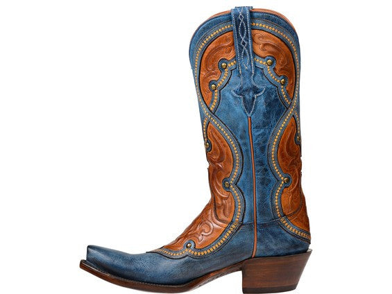 Blue Lucchese Women's Averill Boot GY4532 - Ocean Blue + Cognac Cowboy boot