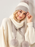 Giftcraft 405917 Hat Scarf Set Grey White ON SALE - Saratoga Saddlery & International Boutiques