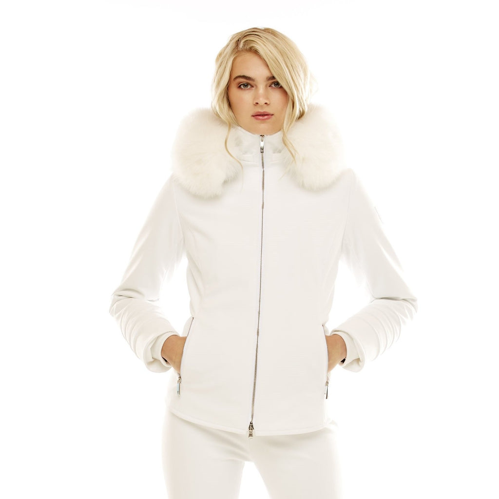 M. Miller Tori Insulated Soft Shell Jacket with Natural Fox Hoodtrim, White Stretch 40% OFF ON SALE! - Saratoga Saddlery & International Boutiques