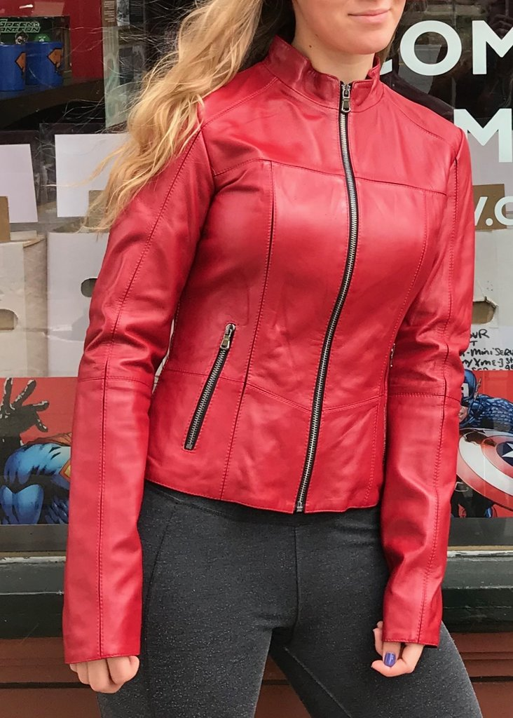 Bergen of Norway Red Leather Lamb Jacket Fashion Style