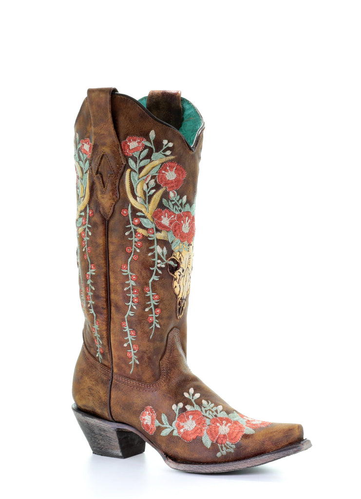Corral Women's Brown Leather Deer Skull Floral Embroidery Boots A3652 - Saratoga Saddlery & International Boutiques