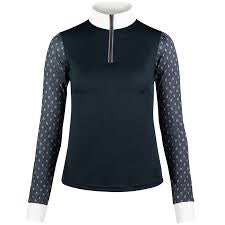 Horze Paige Women's Long Sleeve Show Shirt 33477 Navy - Saratoga Saddlery & International Boutiques