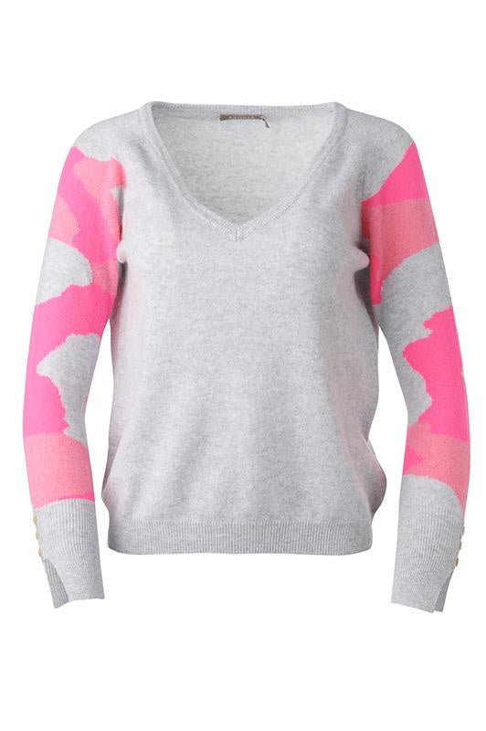 Brodie Cashmere Women's Pink Camo Cashmere Sweater with Pink Camo Sleeves - Saratoga Saddlery & International Boutiques