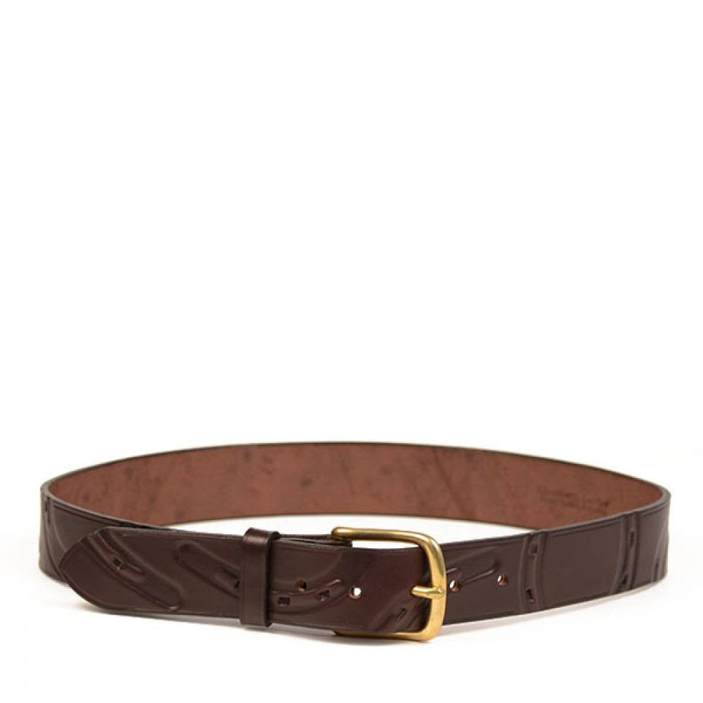 Clever with Leather Hoofprint Belt - Dark Brown - Saratoga Saddlery