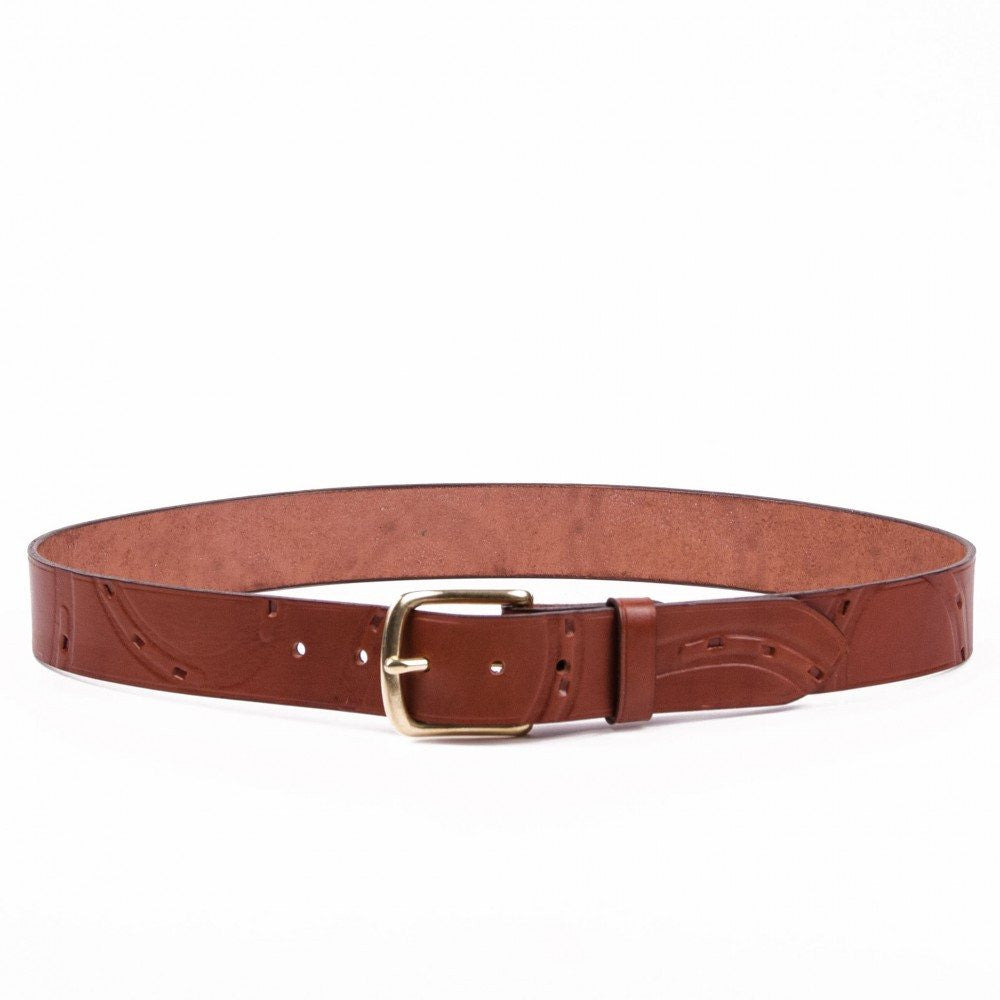 Clever with Leather Hoofprint Belt - Medium Brown - Saratoga Saddlery