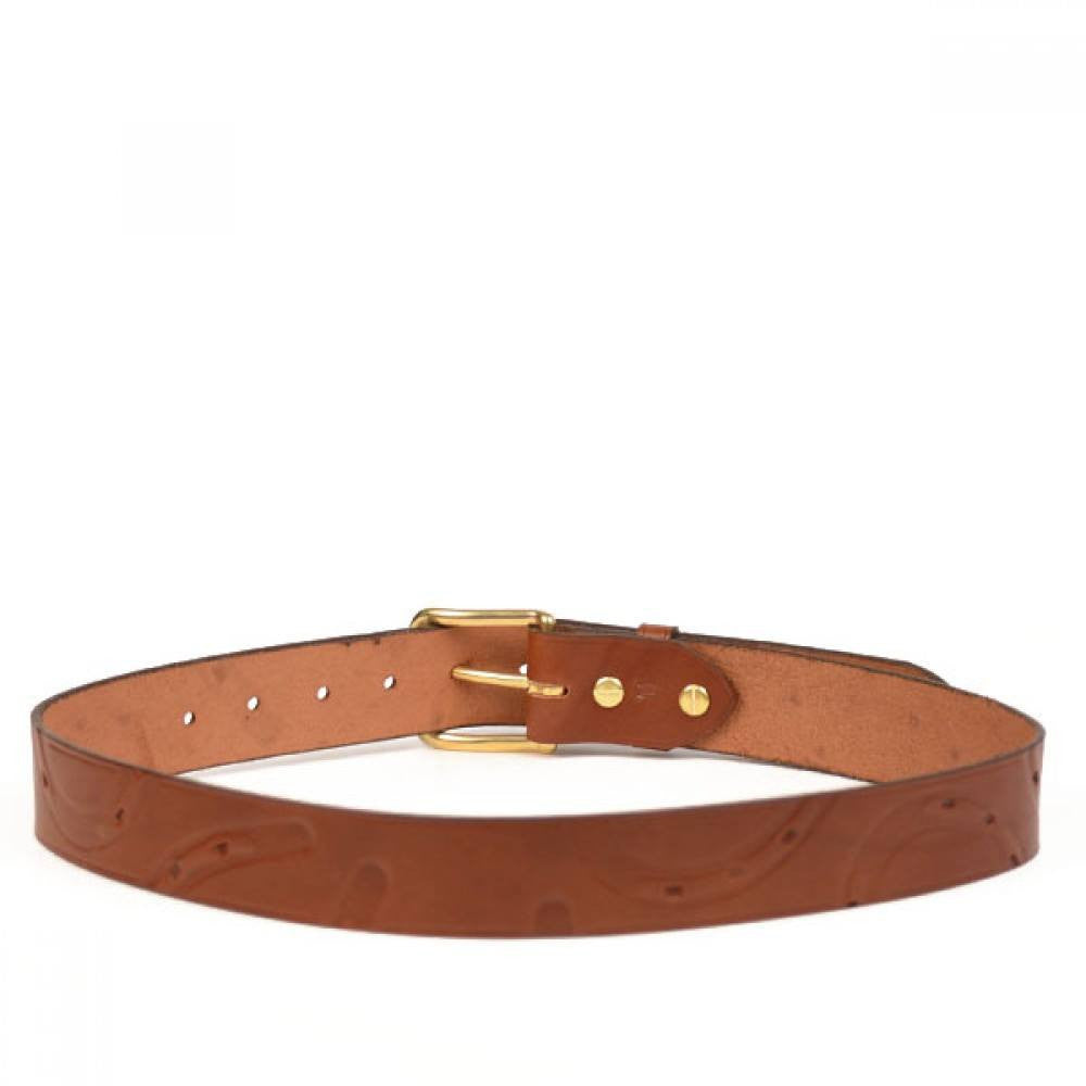 Clever with Leather Hoofprint Belt - Tan - Saratoga Saddlery