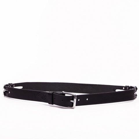 Clever with Leather Martingale Belt - Black
