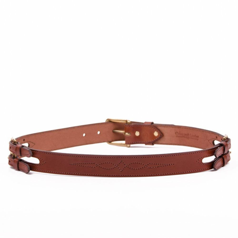 Clever with Leather Show Barn Belt - Medium Brown - Saratoga Saddlery