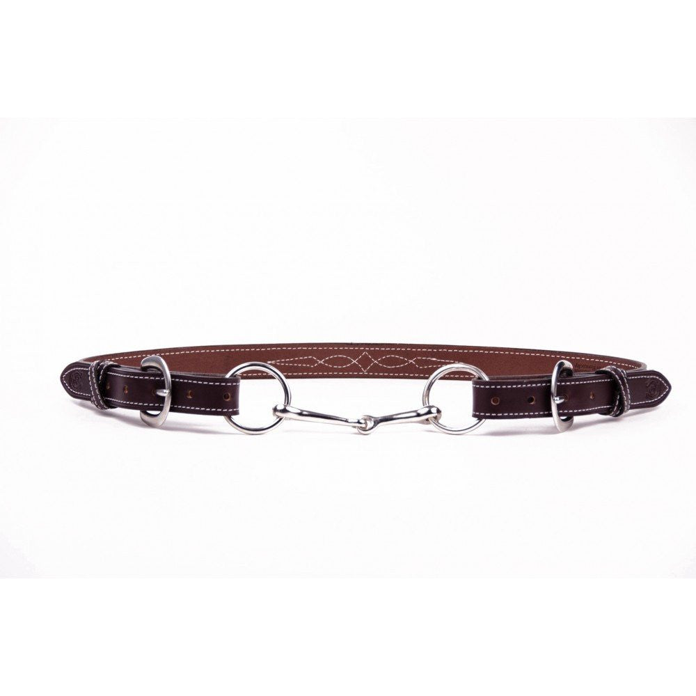Clever with Leather Snaffle Bit Belt - Dark Brown with Stitching - Saratoga Saddlery