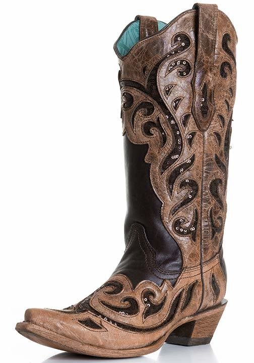 Corral Women's Brown Cowboy Sequins Boot C1183 - Saratoga Saddlery & International Boutiques