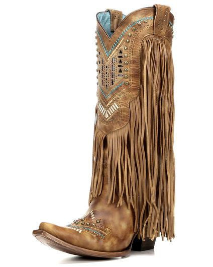 Corral C2910 Tan Multi Color Crystal Pattern and Fringe Boot - Saratoga Saddlery & International Boutiques