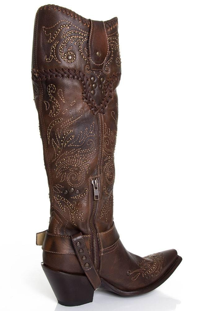 Corral Women's Brown Whip Stitch & Studs Tall Top Boot - G1116 - Saratoga Saddlery & International Boutiques