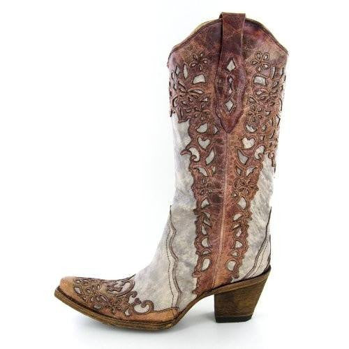 Corral Women's A2665 Laser Overlay Boot in Sand/Cognac - Saratoga Saddlery