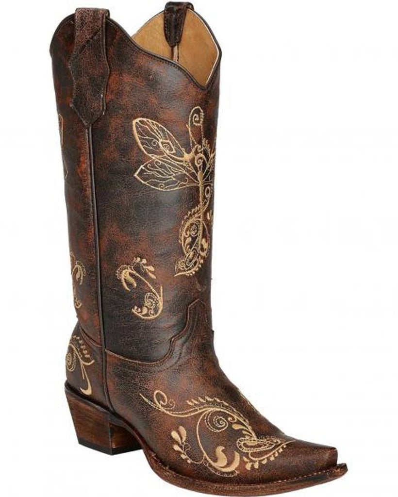 Corral Women's Distressed Brown Dragonfly Embroidery L5001 - Saratoga Saddlery & International Boutiques