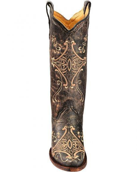 Corral Women's Black Crackle/Bone Embroidery L5048 - Saratoga Saddlery & International Boutiques