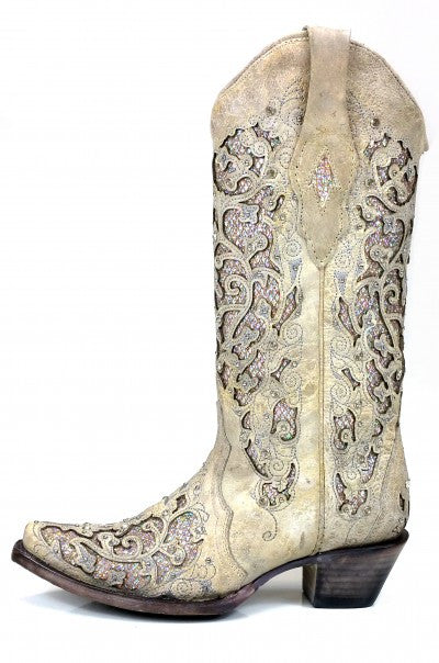 Corral Women's White Glitter Inlay & Crystals boots A3322