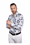 7 Downie Men's Shirt 6003 BLUE & WHITE CIRCLES SHIRT - Saratoga Saddlery & International Boutiques