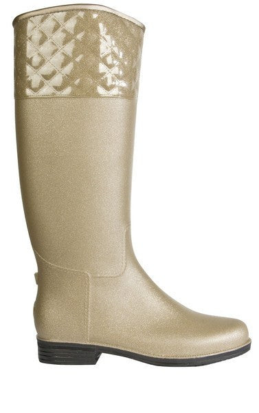 Dav English Quilted Rain Boots in Champagne - Saratoga Saddlery