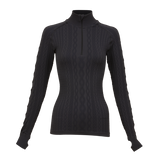 Krimson Klover Aran Cable 1/4 Zip Top in Black - Saratoga Saddlery & International Boutiques
