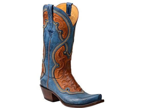 Lucchese Women's Averill Boot GY4532 - Ocean Blue + Cognac Cowboy boot
