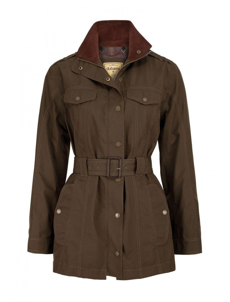Dubarry Olive Swift Women's Belted Jacket - Saratoga Saddlery
