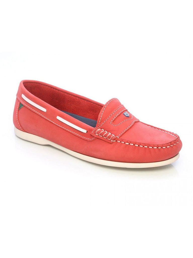 Dubarry Women's Menorca Boat Shoe in Red - Saratoga Saddlery