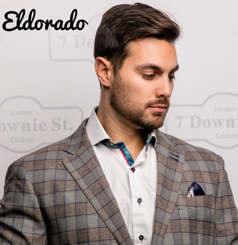 7 Downie St. LLeif Men's Blazer/Sports Jacket With Black Grey And Burgundy Camouflage Print