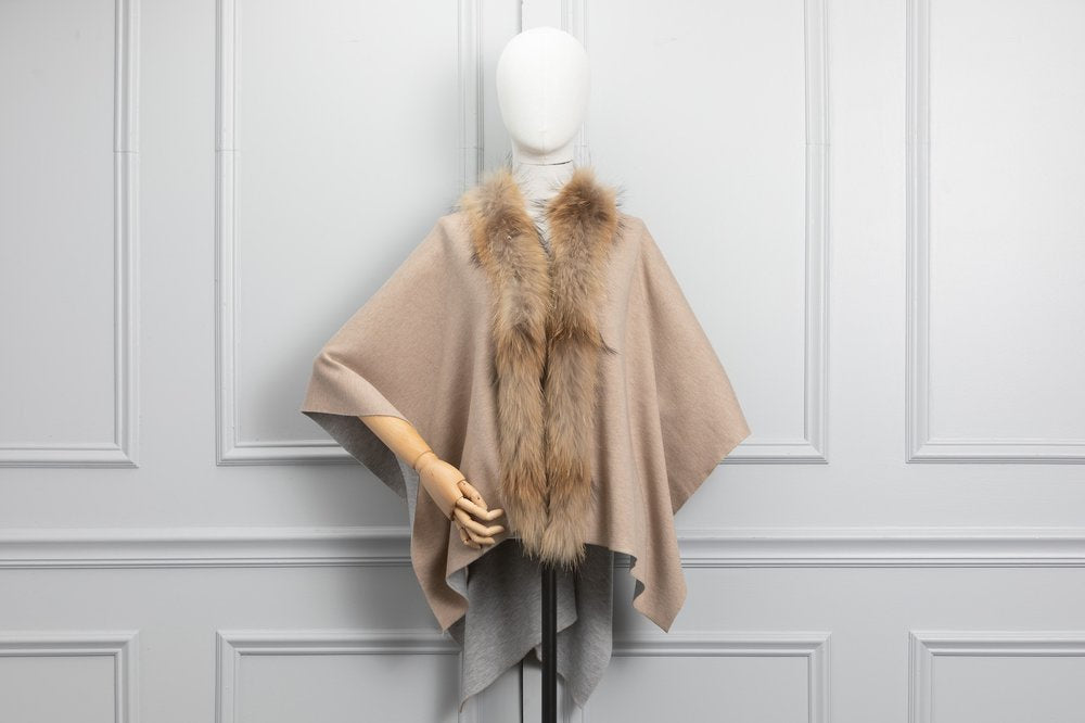 Dana Stein Fur Trimmed Wrap Reversible