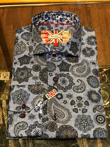 James Tattersall Men's Dress Shirt in Blue JWL008