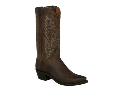 Lucchese Men's Wilson Belly Caiman Crocodile Roper GY3004 - Sienna/Dark Brown