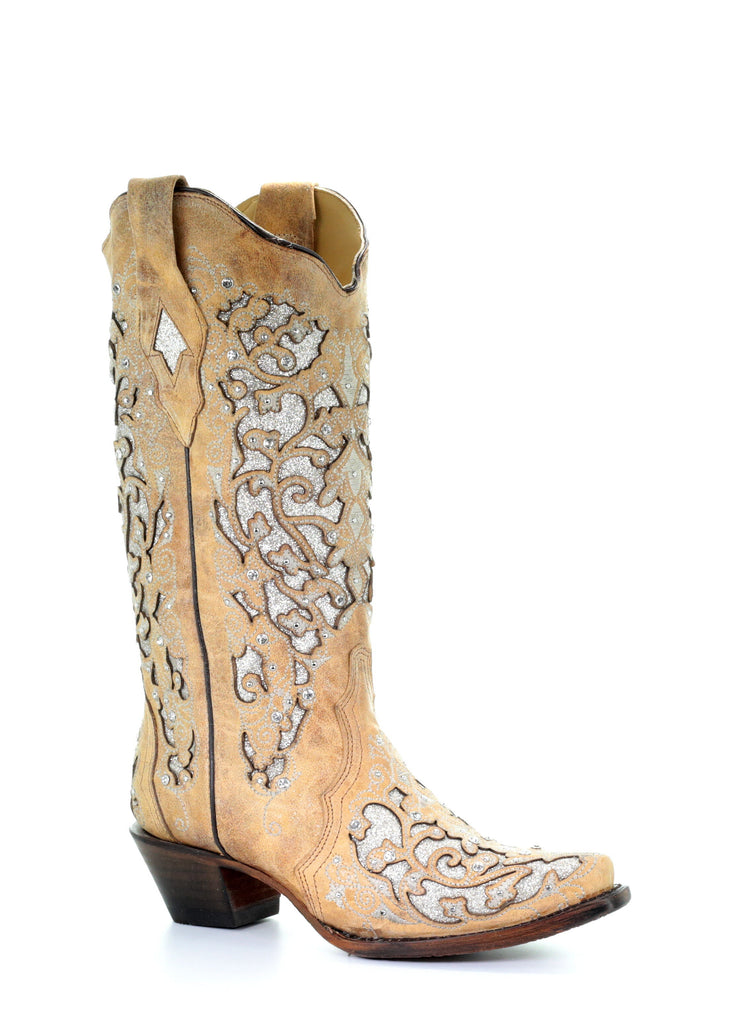 Corral Women's Tan Glitter Inlay Floral Embroidery Boots A3670 - Saratoga Saddlery & International Boutiques