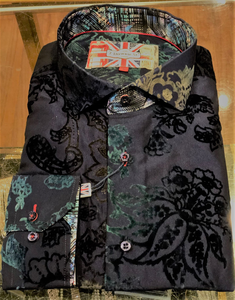 7 Downie Mens Black Floral Dress Shirt